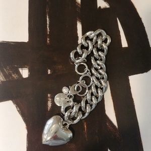 CHICO'S Big Silver PUFFY HEART Charm Bracelet